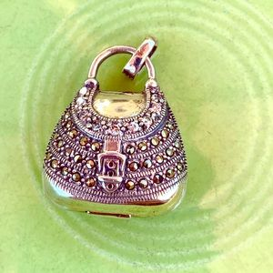 Vintage sterling & marcasite purse pendant